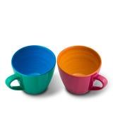Dwa Pięknych kolorów Ceramiczna filiżanka zdjęcia stock