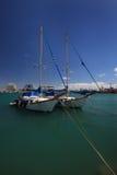 Dwa pięknego jachtu cumowali w porcie Cypr Zdjęcia Royalty Free
