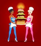 Dwa Pięknej dziewczyny z Urodzinowym tortem Fotografia Royalty Free