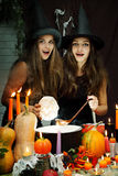 Dwa pięknej czarownicy, zabarwiającej Zdjęcie Stock