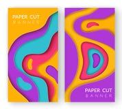 Dwa pionowo abstrakcjonistycznego sztandaru z wielo- barwionym papieru cięciem kształtują Papierów rżnięci falowi kształty w różn ilustracji