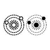 Dwa planety krążą wokoło grają główna rolę linię i glif ikonę Układ Słoneczny wektorowa ilustracja odizolowywająca na bielu astro royalty ilustracja