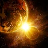 Dwa planety w przestrzeni ilustracja wektor