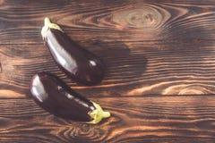 Dwa połówki aubergine fotografia stock