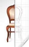 Francuski krzesła nakreślenie ilustracji