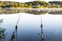 Dwa połowu prącia na tle jezioro w wczesnym poranku, połów zdjęcie royalty free