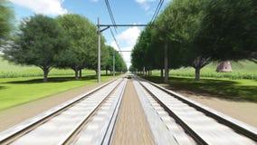 Dwa pociągu rusza się w kierunku each inny ilustracja wektor