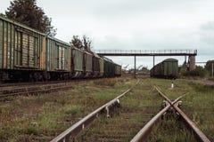 Dwa pociągu towarowego przy platformą Zdjęcia Royalty Free