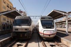 Dwa pociągu w Walencja, Hiszpania Zdjęcie Stock