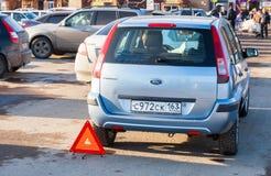 Dwa pojazdów wypadek przy superstore wejściem Obrazy Royalty Free