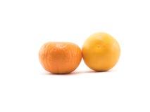 Dwa pomarańcze na białym tle Zdjęcie Royalty Free