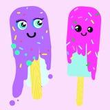 Dwa Popsicles z twarzami topią ilustrację ilustracja wektor