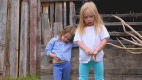 Dwa poważnej eleganckiej małej dziewczynki w modnych ubraniach zbiory wideo