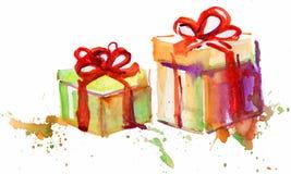 Dwa prezenta pudełka Doodle Obrazy Stock
