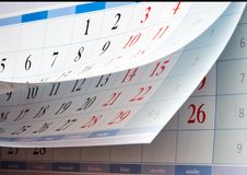 Dwa prześcieradła kalendarz z czarnymi liczbami Zdjęcie Royalty Free