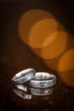 Dwa prześwietnej obrączki ślubnej Obraz Stock