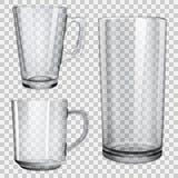 Dwa przejrzystej szklanej filiżanki i jeden szkło dla soku Obraz Stock