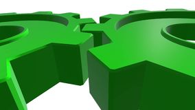 Dwa przekładni zielonego koloru 3d animacja Biały tło Alfa kanał z bliska ilustracji