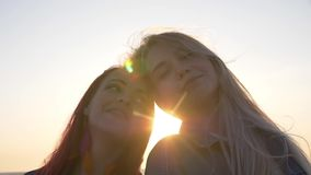 Dwa przyjaciół konfrontacyjny ono uśmiecha się przeciw zmierzchowi nad morzem zbiory