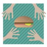 Dwa przyjaciela siedzi w kawiarni i jedzą hamburger Obrazy Stock