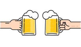 Dwa przyjaciela trzyma piwnych szkła z piankowym dopingiem, piwo w rękach wznosi toast, pojęcie dopingu przyjęcie, płaska kreskow ilustracja wektor