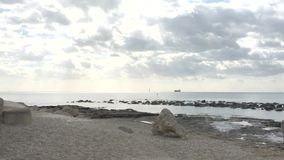 Dwa ptaka latają daleko dobro nad piaskowatą plażą zdjęcie wideo