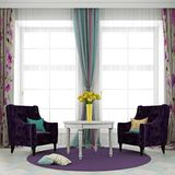 Dwa purpur krzesło i biały stół Fotografia Stock