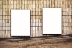 Dwa Pustego Ulicznego Plenerowego Reklamowego billboardu plakata Zdjęcia Royalty Free