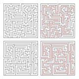 Dwa różnego labiryntu średnia złożoność na bielu z rozwiązaniami royalty ilustracja
