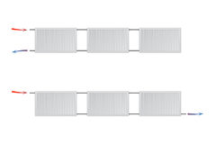 Dwa różnego ogrzewania z stalowymi panel grzejnikami na białym tle Zdjęcia Stock