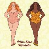 Dwa różnej naród damy w swimsuits ilustracja wektor