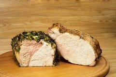 Dwa różnorodnego kawałka piec mięso na round board2 fotografia royalty free
