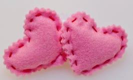 Dwa różowego serca na białym tle zdjęcia stock