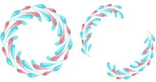 Dwa różowy i błękitne round ramy odizolowywać na białym tle beak dekoracyjnego latającego ilustracyjnego wizerunek swój papierowa ilustracja wektor