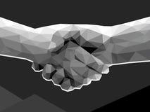 Dwa ręk uścisku dłoni kontraktacyjnej zgody poligonalny niski poli- monoch Obrazy Royalty Free