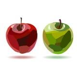 Dwa ręka rysującego jabłka Zdjęcia Stock