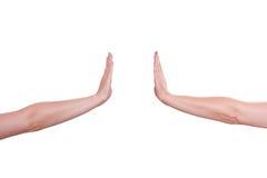 Dwa ręki dosunięciem są mieniem Obraz Stock