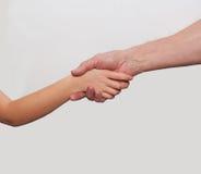 Dwa ręki dziecko i stary człowiek Zdjęcie Stock
