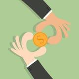 Dwa ręki pieniądze rywalizacja ilustracji
