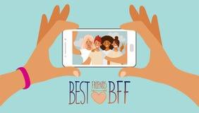 Dwa ręki trzymają smartphone z selfie fotografią grupa nastoletnie dziewczyny na ekranie BFF ilustracja wektor