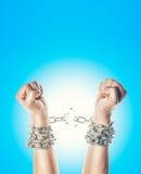 Dwa ręki w łańcuchach Zdjęcia Stock
