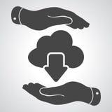 Dwa ręki z obłoczną oblicza ściąganie ikoną ilustracji