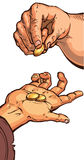 Dwa ręki z monetami Fotografia Stock