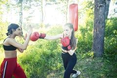 Dwa r??norodnej nar?d dziewczyny walczy boksowa? outside w ziele? parku, sporta lata poj?cia ludzie fotografia stock