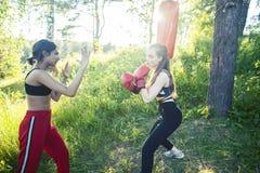 Dwa r??norodnej nar?d dziewczyny walczy boksowa? outside w ziele? parku, sporta lata poj?cia ludzie obraz royalty free