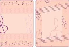 Dwa ramy z notatkami i treble clef Zdjęcia Royalty Free