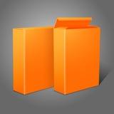 Dwa realistycznego jaskrawego pomarańczowego pustego papieru pakunku royalty ilustracja