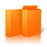 Dwa realistycznego jaskrawego pomarańczowego pustego papieru pakunku Obrazy Stock