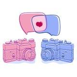 Dwa retro kamery w doodle projektują z bąblami i royalty ilustracja