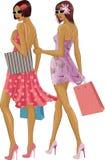 Dwa robią zakupy dziewczyny Zdjęcia Royalty Free